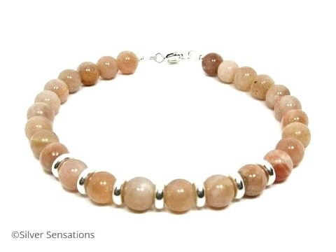 Peach Sunstone & Sterling Silver Beaded Ladies Bracelet